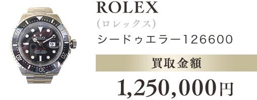 ROLEX(ロレックス)シードゥエラー126600 買取金額 1,250,000円